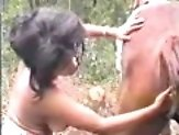 Latin zoo sex enthusiast playing outdoors